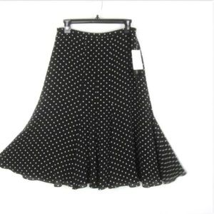 JONES NY 8 100% Silk Skirt Black Polka Dot NEW $99